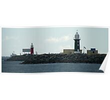 Red and Green Lighthouses panorama Poster
