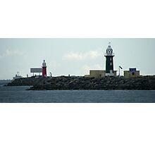 Red and Green Lighthouses panorama Photographic Print