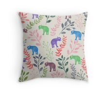 Floral and Elephant Throw Pillow