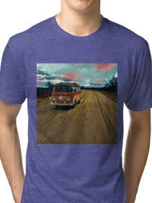 VW Bus on Sand Road Volkswagen Westfalia  Tri-blend T-Shirt