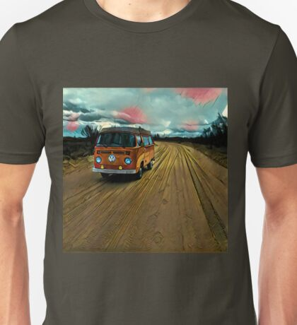 VW Bus on Sand Road Volkswagen Westfalia  Unisex T-Shirt