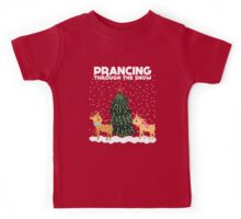 Cute Funny Prancing Through the Snow Kids Tee