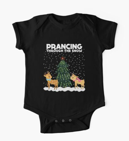 Cute Funny Prancing Through the Snow One Piece - Short Sleeve