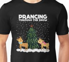 Cute Funny Prancing Through the Snow Unisex T-Shirt