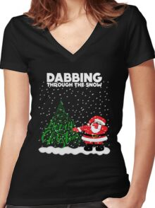 Cute Funny Dabbing Through the Snow Women's Fitted V-Neck T-Shirt
