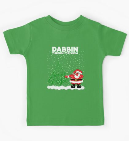 Cute Funny Dabbin' Through the Snow Kids Tee