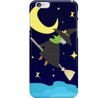 Witch Flying on Broom on A Starry Halloween Night Accompanied by the Moon and Stars iPhone Case/Skin
