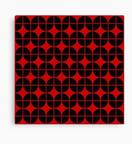 Optical Illusion Pattern Neon Red on Black Canvas Print