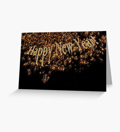 Happy New Year 2014 Gold Fireworks  Greeting Card