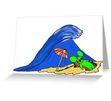 la souris verte a la plage Greeting Card