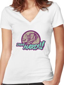 Drive HARD!!! (3) Women's Fitted V-Neck T-Shirt