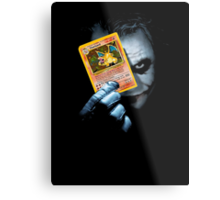 Joker holding up Pokemon Charizard card Metal Print