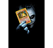 Joker holding up Pokemon Charizard card Photographic Print