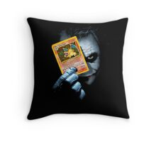 Joker holding up Pokemon Charizard card Throw Pillow