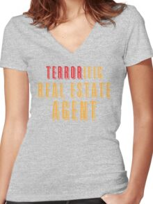 Terroroific Real Estate Agent (terrific) Women's Fitted V-Neck T-Shirt