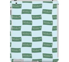 Road sign Trouble ahead wallpaper iPad Case/Skin