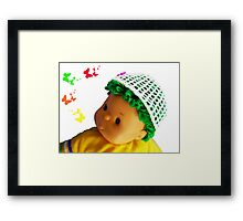 Baby doll with butterflies Framed Print