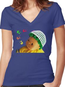 Baby doll with butterflies Women's Fitted V-Neck T-Shirt