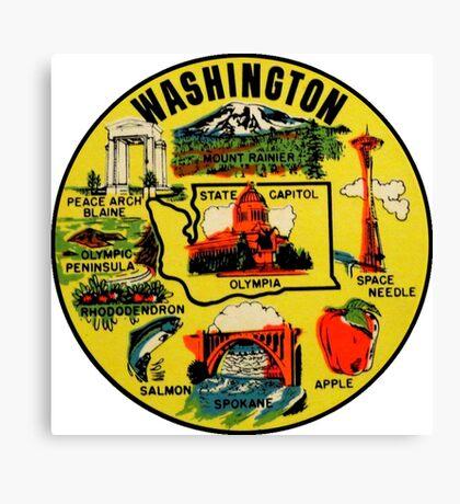 Washington State Landmarks Vintage Travel Decal Canvas Print