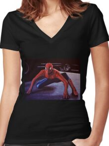 Spiderman Painting 2 Women's Fitted V-Neck T-Shirt