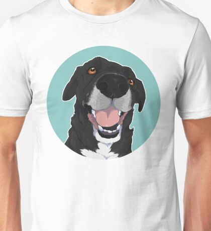 ELLINGTON! Blue Background / black lab mix mutt dog cute happy artwork illustration Unisex T-Shirt