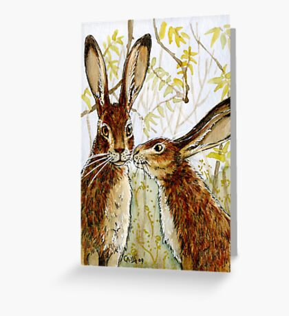 Funny Rabbits - Little Kiss 543 Greeting Card