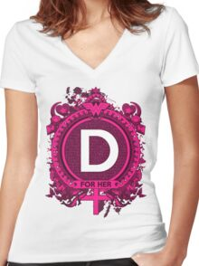 FOR HER - D Women's Fitted V-Neck T-Shirt