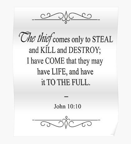 John 10:10 Bible Verse Poster
