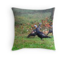 Wild Turkeys Feeding Along The Forest Throw Pillow