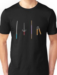 TMNT weapons and pizza (black) Unisex T-Shirt