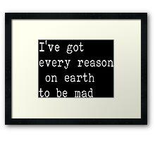 The Beatles Ill cry Instead Mad Crazy Angry Sarcasm Lyrics Text Framed Print