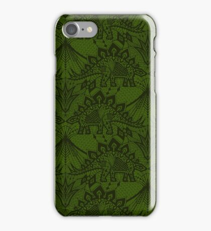 Stegosaurus Lace - Green iPhone Case/Skin