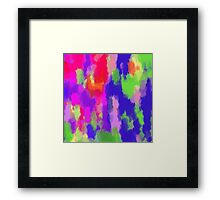 pink purple blue green and orange painting texture background Framed Print