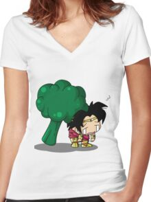 Brolly Broccoli Women's Fitted V-Neck T-Shirt