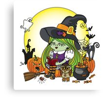 Halloween Witch girl reading book Canvas Print