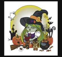 Halloween Witch girl reading book Kids Clothes