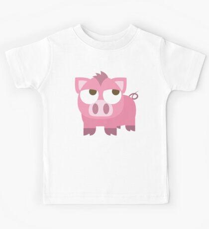 Pig Emoji Thinking Hard and Hmm Face Kids Tee