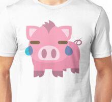 Pig Emoji Teary Eyes and Sad Look Unisex T-Shirt
