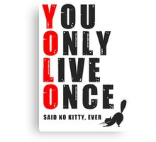 You only live once, said no kitty, ever. YOLO Canvas Print