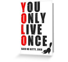You only live once, said no kitty, ever. YOLO Greeting Card