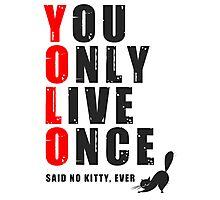 You only live once, said no kitty, ever. YOLO Photographic Print