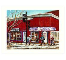 CENTRE PIZZA VERDUN WINTER SCENES POINTE ST CHARLES HOCKEY ART MONTREAL PAINTINGS Art Print