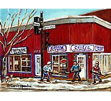 CENTRE PIZZA VERDUN WINTER SCENES POINTE ST CHARLES HOCKEY ART MONTREAL PAINTINGS Photographic Print