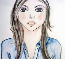 Blue blouse girl by JoAnnFineArt