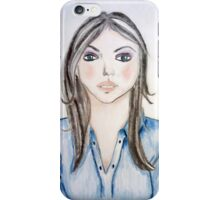 Blue blouse girl iPhone Case/Skin