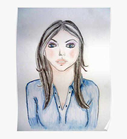 Blue blouse girl Poster
