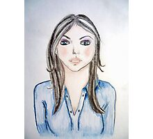 Blue blouse girl Photographic Print