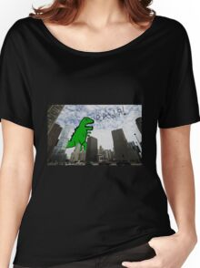 Rawr! Dinosaur T Rex attacking Chicago Women's Relaxed Fit T-Shirt