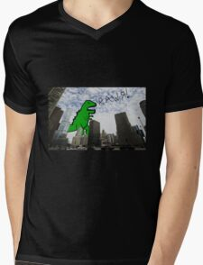 Rawr! Dinosaur T Rex attacking Chicago Mens V-Neck T-Shirt