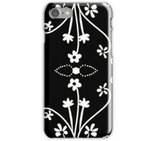 White on Black Line Drawing iPhone Case/Skin